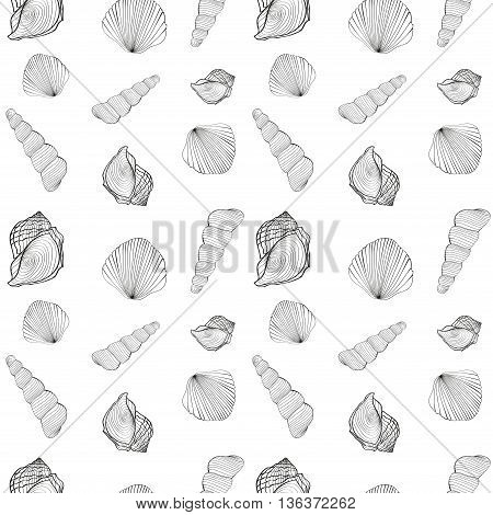 Sea bubbles background seamless pattern of shells