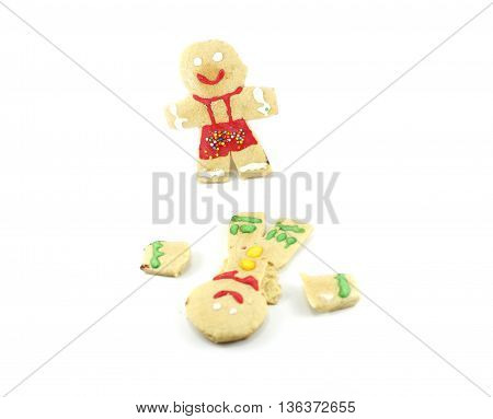 child cookie shaped green suit and red isolated white background