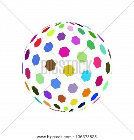 Abstract Sphere Element with Color Hexagon Pattern Envelope Isolated on White Background