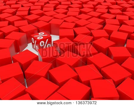 Red discount cube and red cubes. 3D illustration.