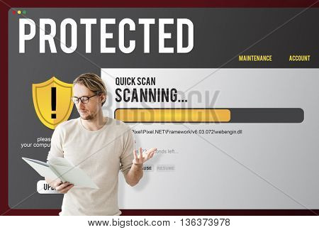 Protected Security Computer Digital Phishing Concept