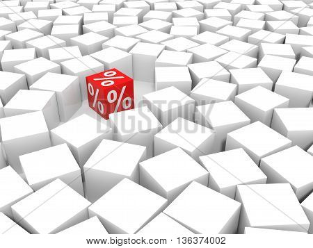 Red discount cube on white background. 3D illustration.