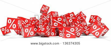 Red discount cubes on white background. 3D illustration.