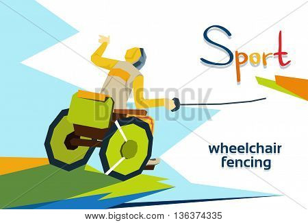 Fencer On Wheel Chair Disabled Athlete Fencing Sport Competition Flat Vector Illustration