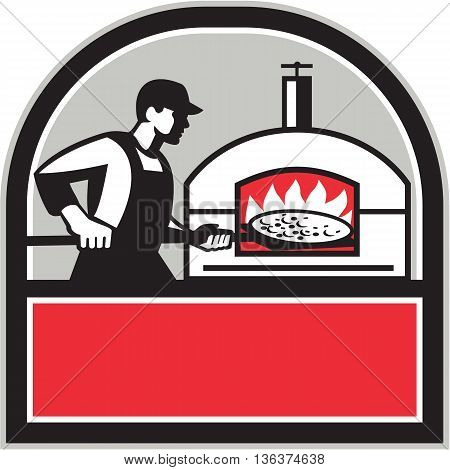 Illustration of a baker pizza maker cook holding a peel with pizza pie into a wood fired oven viewed from side set inside shield crest done in retro style.