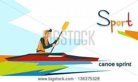 Disabled Athlete Canoe Sprint Sport Competition Flat Vector Illustration