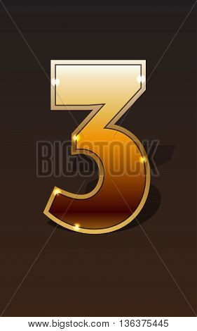Golden number three on dark background isolated. Golden alphabet. Vector illustration number three for golden best choice design. Vector illustration stock vector.