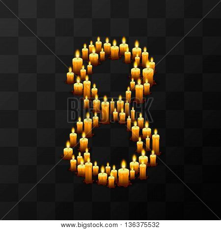 Tribulation numbers 8 of candles, transparent background, template design element