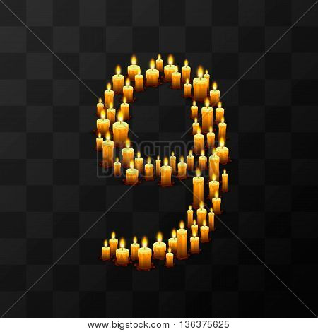 Tribulation numbers 9 of candles, transparent background, template design element