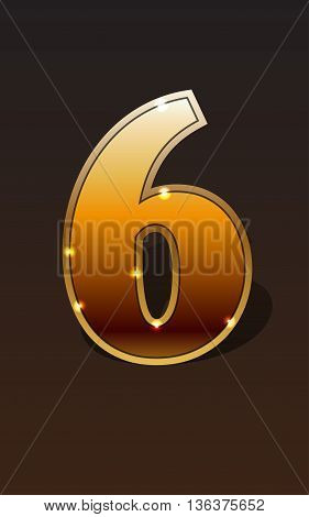 Golden number six on dark background isolated. Golden alphabet. Vector illustration number six for golden best choice design. Vector illustration stock vector.