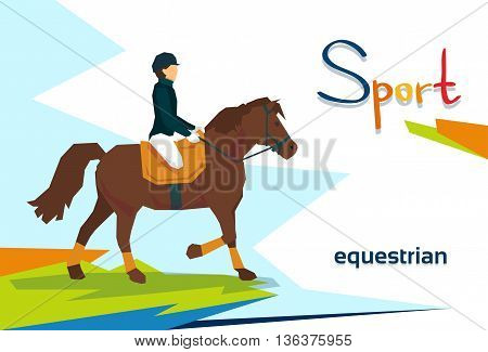 Disabled Athlete Equestrian Horse Sport Competition Flat Vector Illustration
