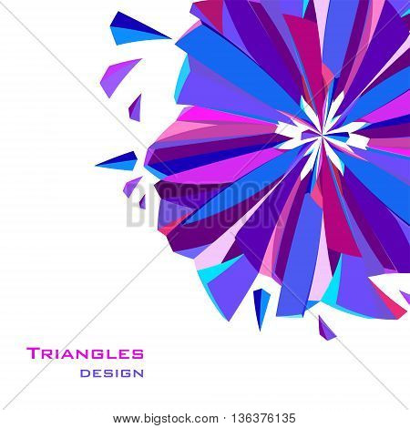 Blue border geometric design. Blue, red, pink and purple geometric abstract triangles border design background. Blue abstract geometric background. Vector illustration.