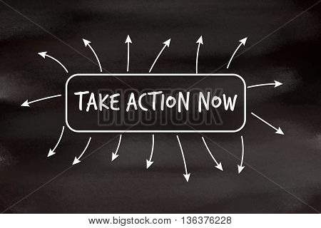 Take action now motivational message written on blackboard