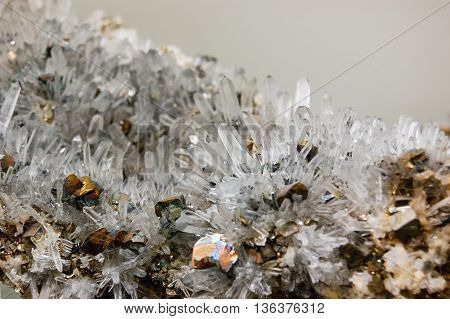 Crystal and Pyrite geology mineral combination formation