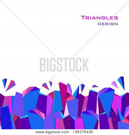 Horizontal bottom blue border geometric design. Blue, red, pink and purple geometric abstract triangles border design background. Blue abstract geometric background. Vector illustration.