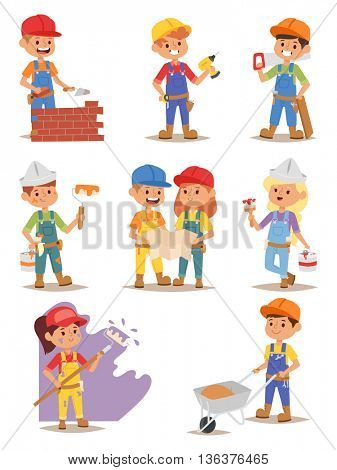 Builders kids vector set.