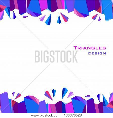 Horizontal blue border frame geometric design. Blue, red, pink and purple geometric abstract triangles border design background. Blue abstract geometric background. Vector illustration.