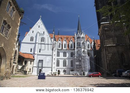 MEISSEN, GERMANY - JUNE 5, 2013:Detail of the cathedral of Meissen castle courtyard Albrechtsburg