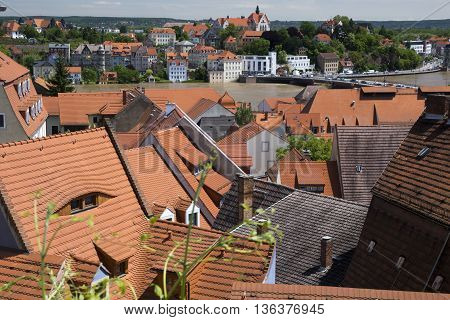 MEISSEN, GERMANY - JUNE 5, 2013:View of the house and roof Meissen during the summer 2013 floods