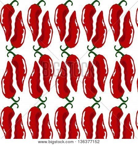 Hot chili pairs seamless pattern .Vector seamless pattern with spicy chili pepper.