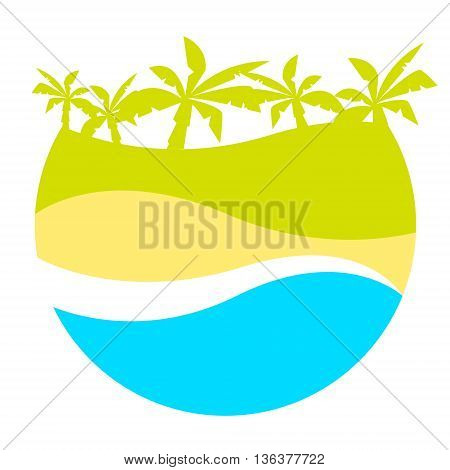 Vector print for t-shirt. Sandy beach and palm trees