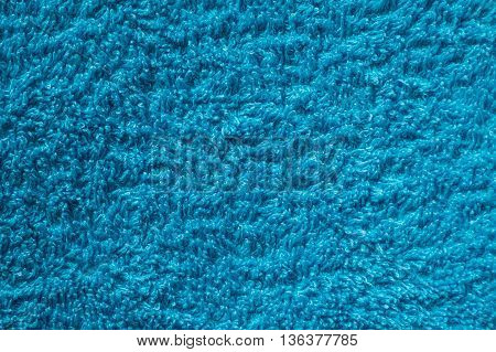 Pile of blue towels close up for background