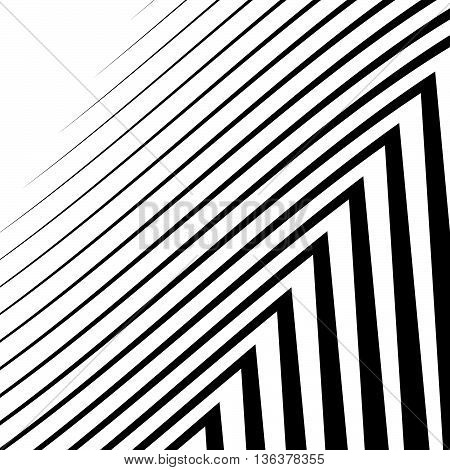 Lines With Distortion. Edgy, Wavy Lines Monochrome Geometric Pattern.