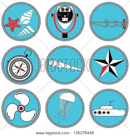 Nautical elements type 2  icons in knotted circle including   sea shells, Star fish, beach telescope, nautical knots, telescope, star, jelly fish, submarine, vintage compass and boat engine element