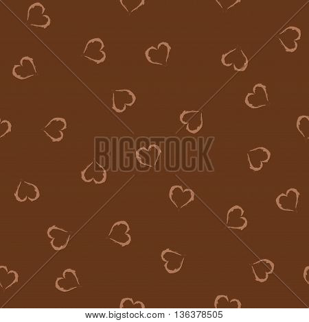 Heart brown seamless pattern. Fashion graphic background design. Modern stylish abstract texture. Monochrome template for prints textiles wrapping wallpaper website etc. VECTOR illustration