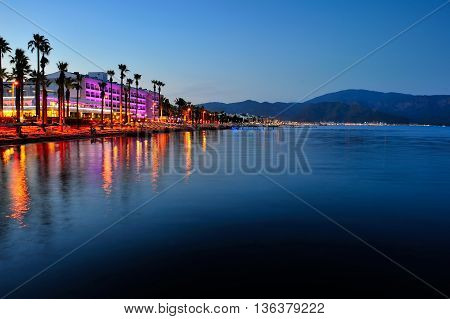 Embankment In Marmaris At Summer Evening. Turkey
