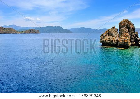 Beautiful Seascape With Rocky Islands. Aegean Sea. Turkey