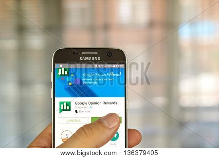 MONTREAL CANADA - JUNE 23 2016 : Google Opinion Rewards application on Samsung S7 screen. Google Opinion Rewards is an app created by Google Consumer Surveys.