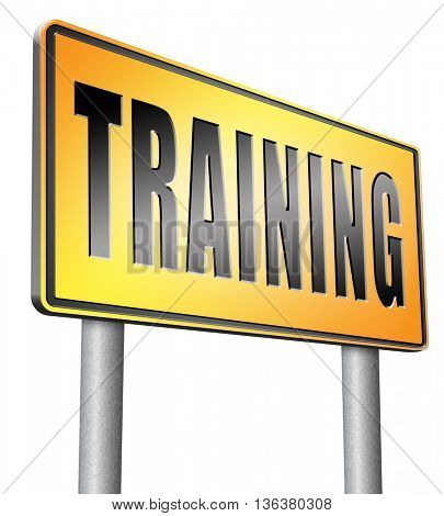 training learning for knowledge and wisdom or physical fitness sport practice work out or education with text and word concept