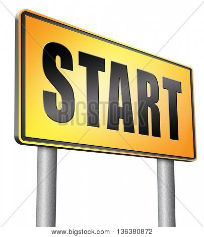 start new life or road to fresh begin, road sign billboard.