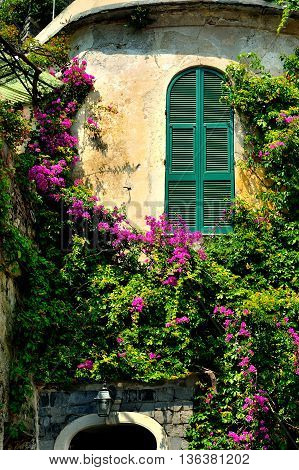 round tower with window shutters and pink bougainvilleas in the picturesque village Portovenere, Cinque Terre