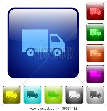 Set of delivery color glass rounded square buttons