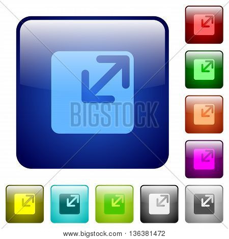 Set of resize window color glass rounded square buttons