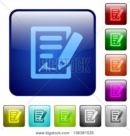 Set of signing contract color glass rounded square buttons