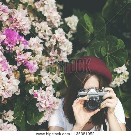 Floral Background Woman Photographing Concept