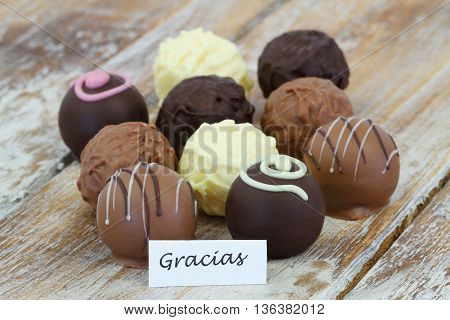Gracias (which means thank you in Spanish) with assorted chocolates, pralines and truffles
