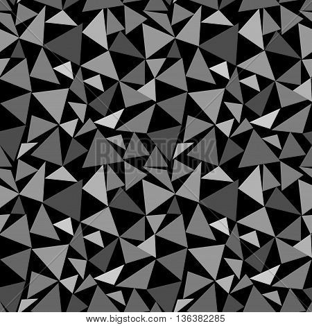 Triangle gray chaotic seamless pattern. Fashion graphic background design. Modern stylish abstract monochrome texture. Template for prints textiles wrapping wallpaper website etc. VECTOR illustration
