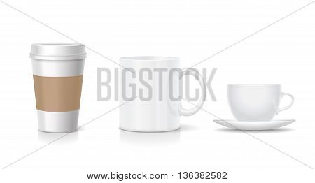 Set of coffee cups Realistic coffee set with paper cup china mug. Vector