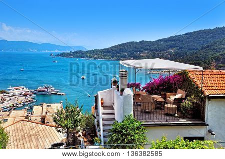 summer terrace in Portovenere overlooking of the mediterranean sea