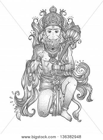 Ornament card with of Lord Hanuman. Illustration of Happy Dussehra. Perfect  cards for any other kind of design, birthday and other holiday, kaleidoscope,  medallion, yoga, india, arabic
