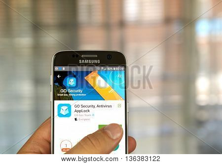 MONTREAL CANADA - JUNE 24 2016 : Go Security application on Samsung S7 screen. GO Security is a popular android application security app.