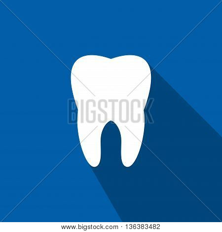 Tooth icon in flat style isolated on blue background. Health, medical or doctor and dentist office symbols. Oral care, dental icon clinic white tooth.