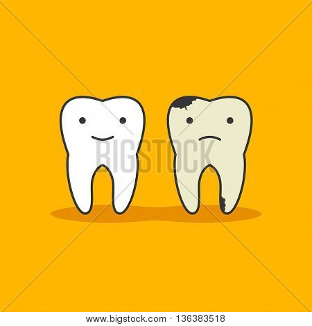 Happy healthy tooth and unhealthy bad tooth with face icon in flat style isolated on background. Health, medical or doctor children symbols. Oral care, dental icon clinic white teeth in cartoon style.