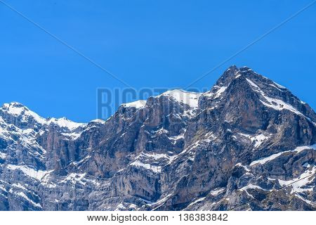 The Tops of Swiss Alps at Murren, Switzerland. Jungfrau Region. The valley of Lauterbrunnen from Interlaken.