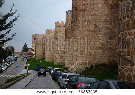 Walls of Avila, medieval town in Spain on a cloudy day. 12, september, 2015