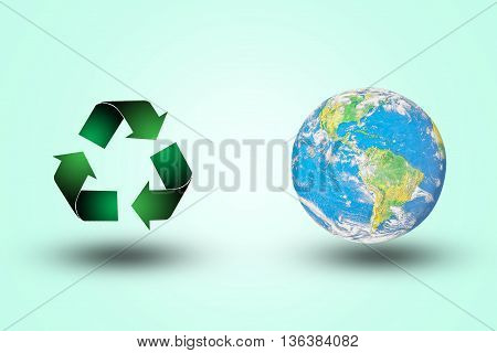 recycle symbol green.the world on the background pastel color.Environment Day concept.Ecology concept.The power harmonious.Elements of this image furnished by NASA.